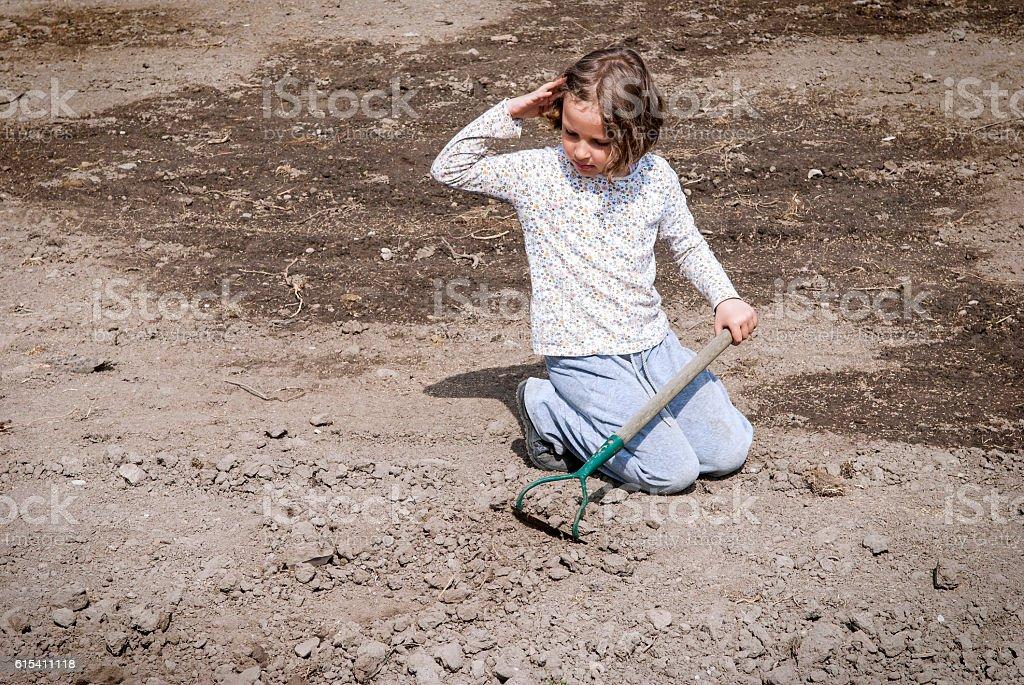 Girl farming stock photo