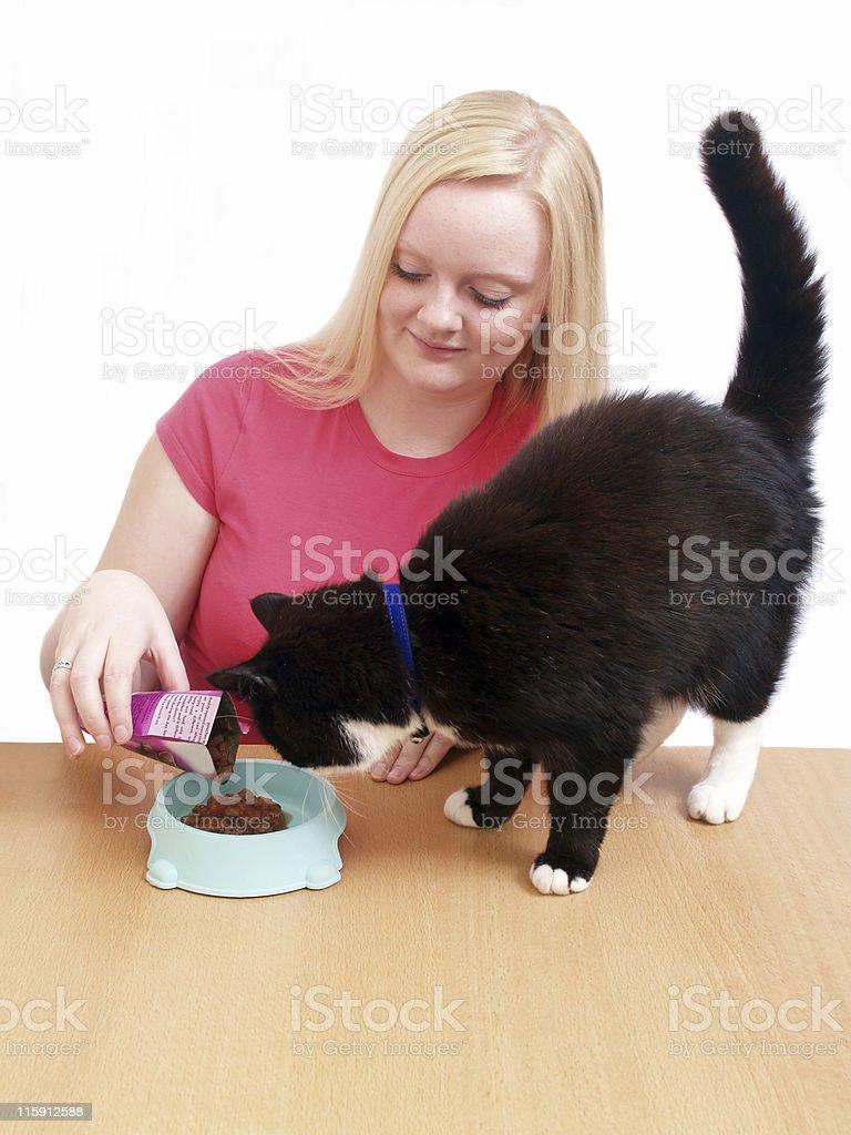 Girl Feeding Cat royalty-free stock photo