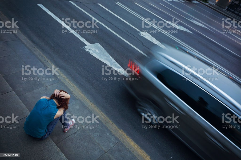 Girl feeling lonely stock photo