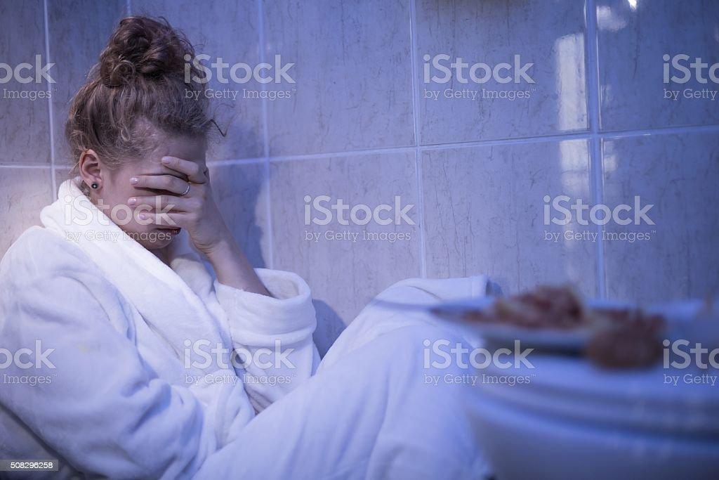 Girl feeling sick stock photo