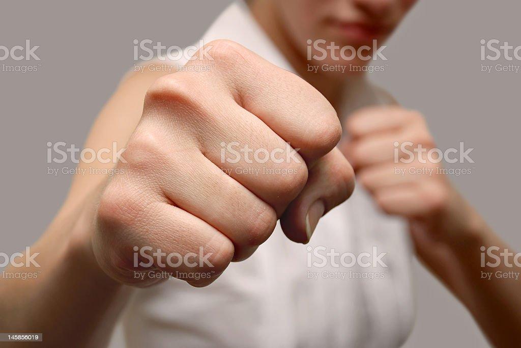 Girl fighter stock photo