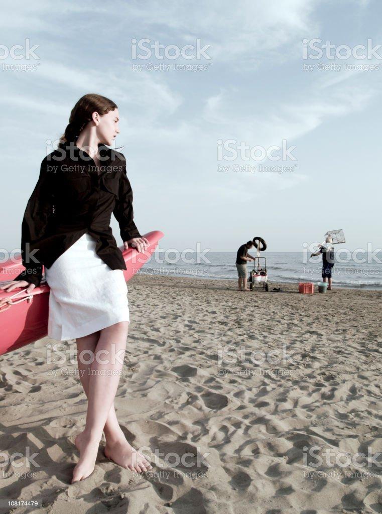 Girl & Fisherman royalty-free stock photo