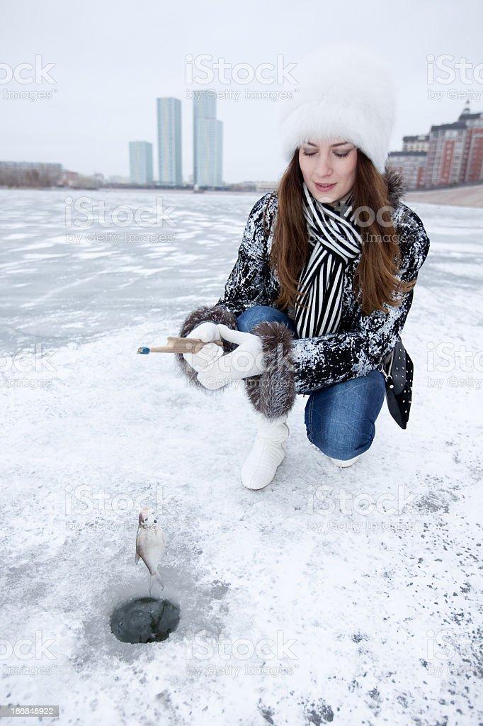Girl Fishing: Astana stock photo