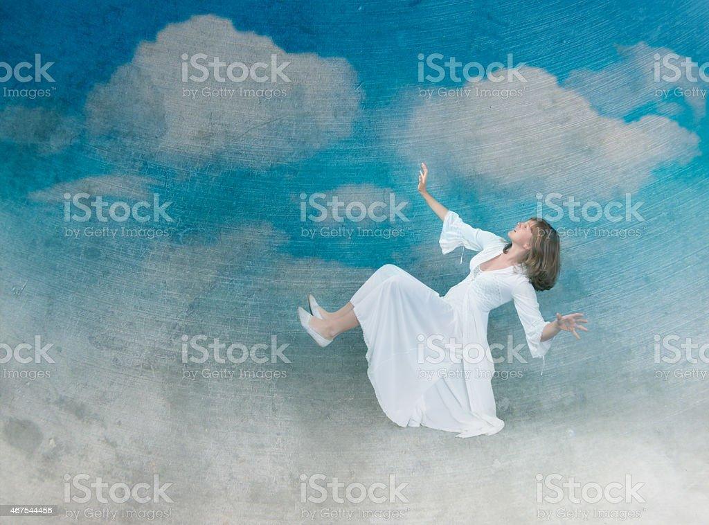 girl flight in the sky stock photo