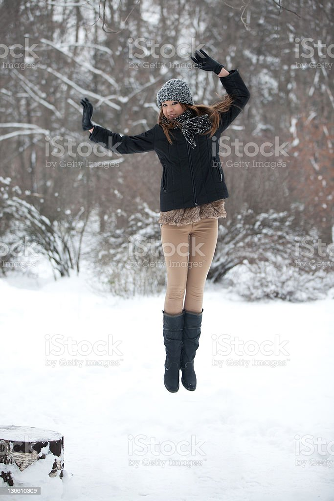 Girl for a walk  in the winter royalty-free stock photo