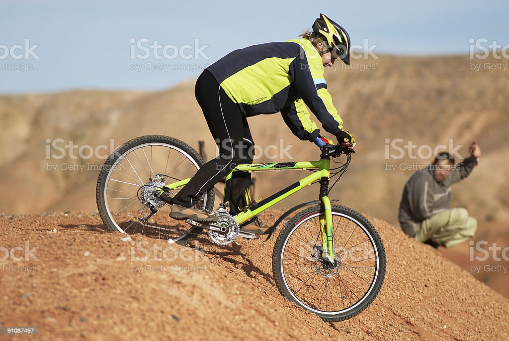 Girl freeride on red canyon royalty-free stock photo