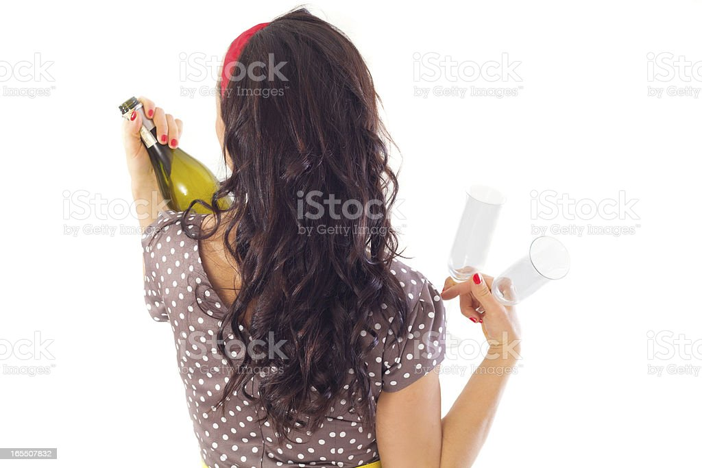 girl from behind with bottle royalty-free stock photo