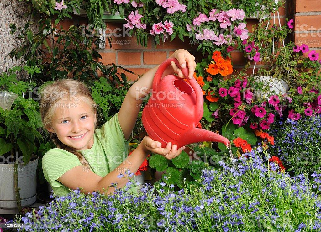 Girl gardening royalty-free stock photo