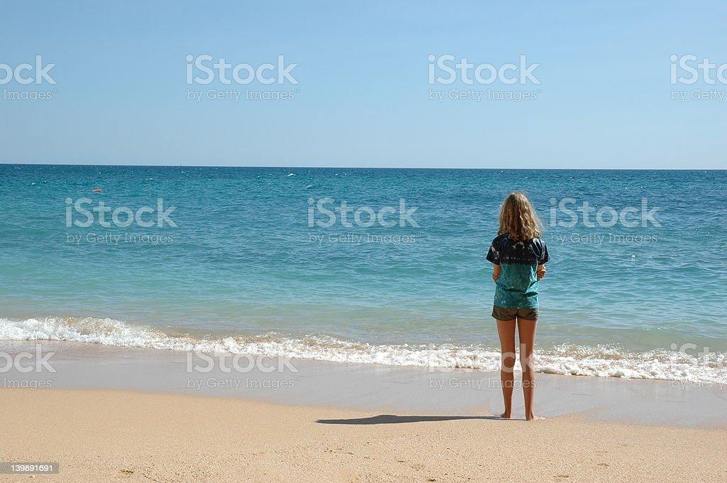 Girl gazing over Mediterranean 3 royalty-free stock photo