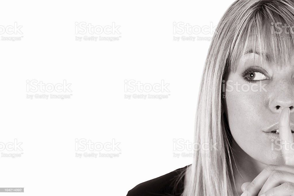 girl gestures for silence royalty-free stock photo