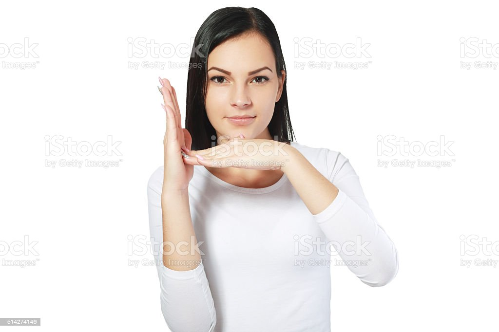 girl gestures timeout stock photo