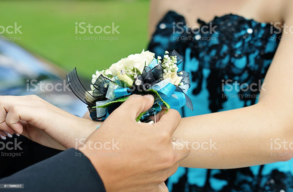 girl gets corsage stock photo