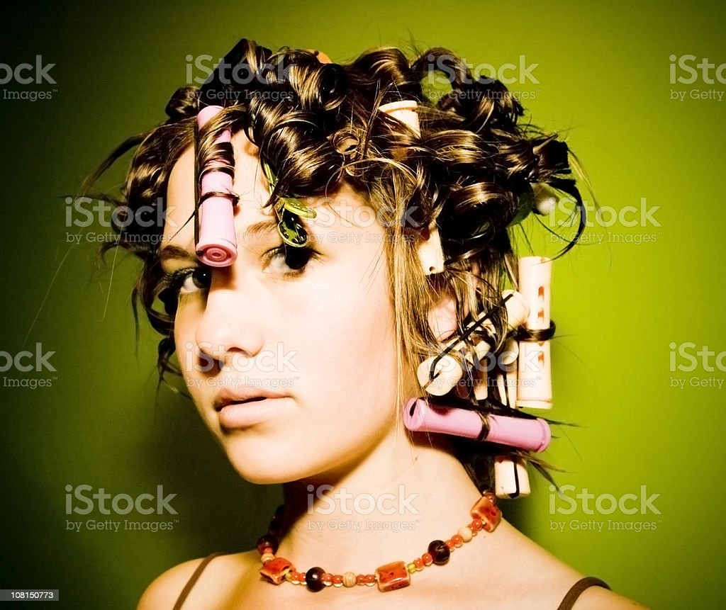 Girl Getting Hair Done royalty-free stock photo