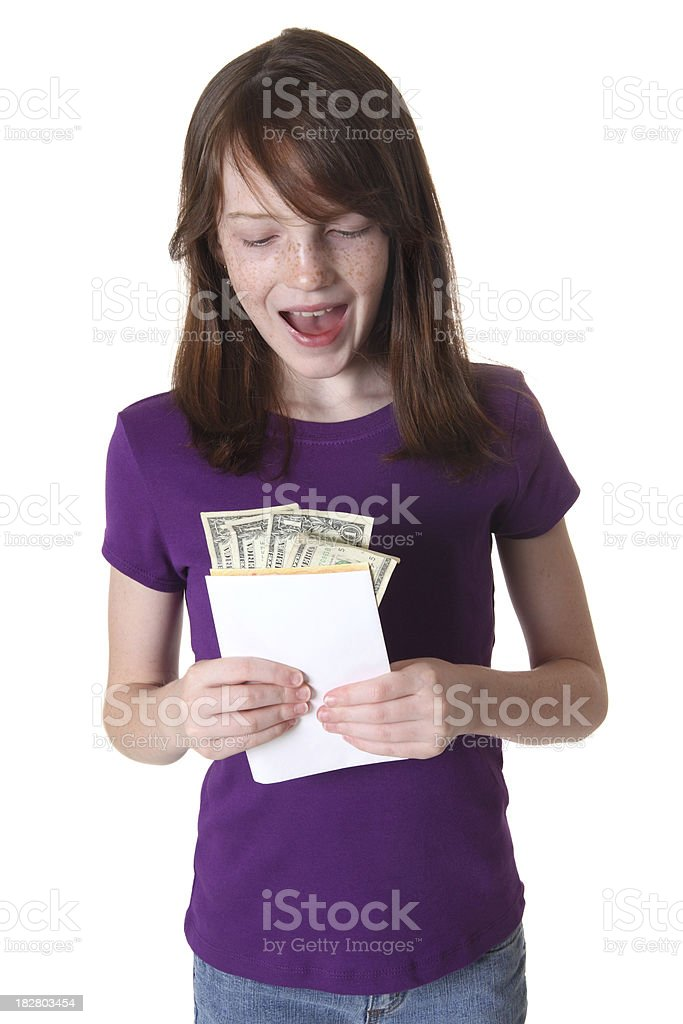 Girl Getting Money royalty-free stock photo