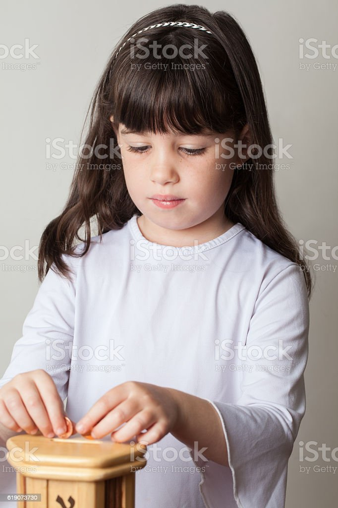 Girl giving charity stock photo