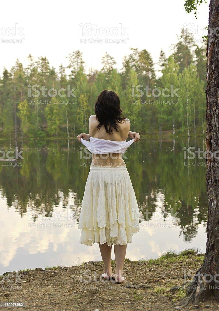 Girl going to swim royalty-free stock photo