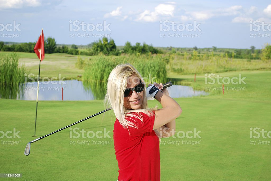 girl golf player portrait royalty-free stock photo