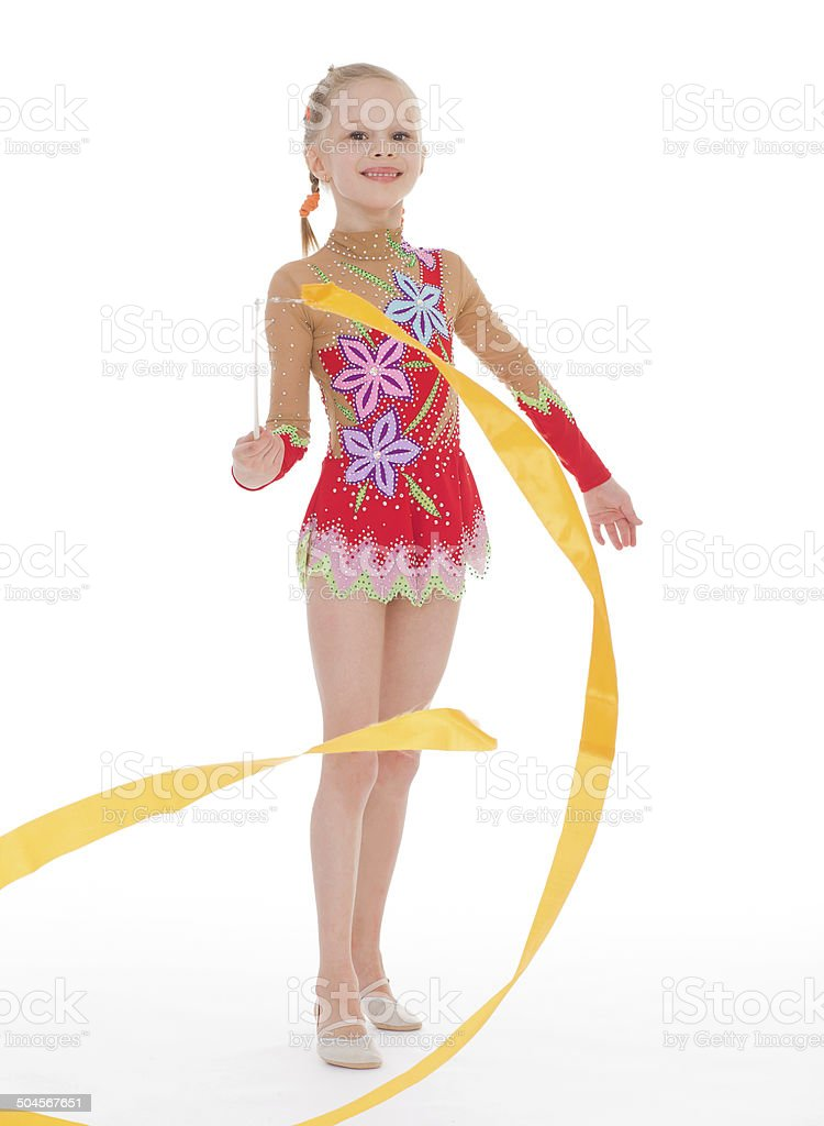 Femme gymnaste avec ruban. photo libre de droits