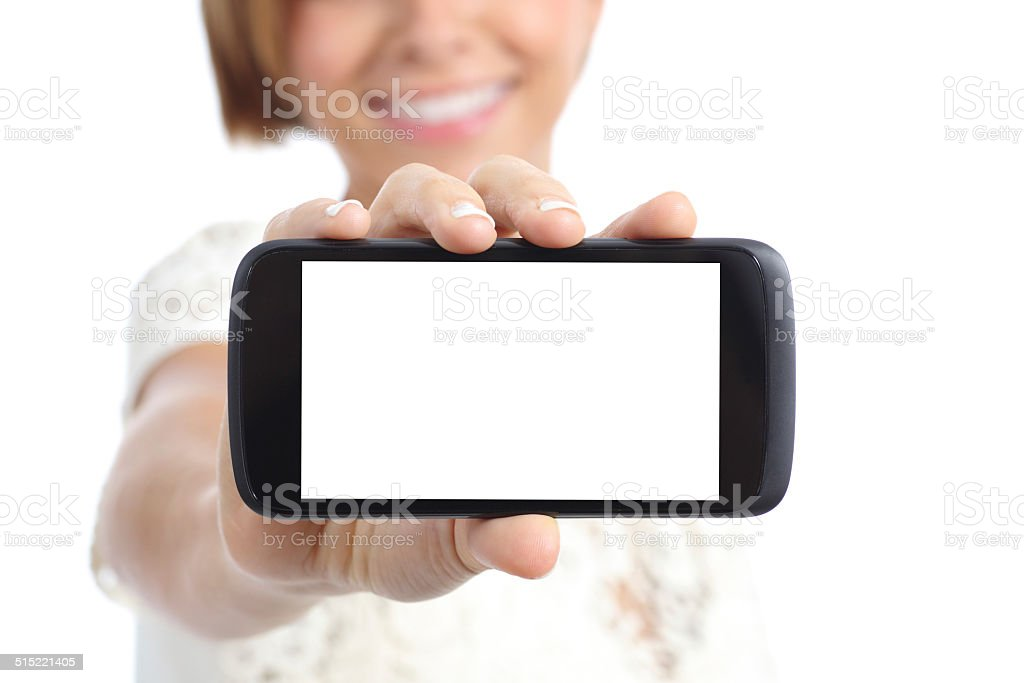 Girl hand showing a horizontal blank smartphone screen stock photo