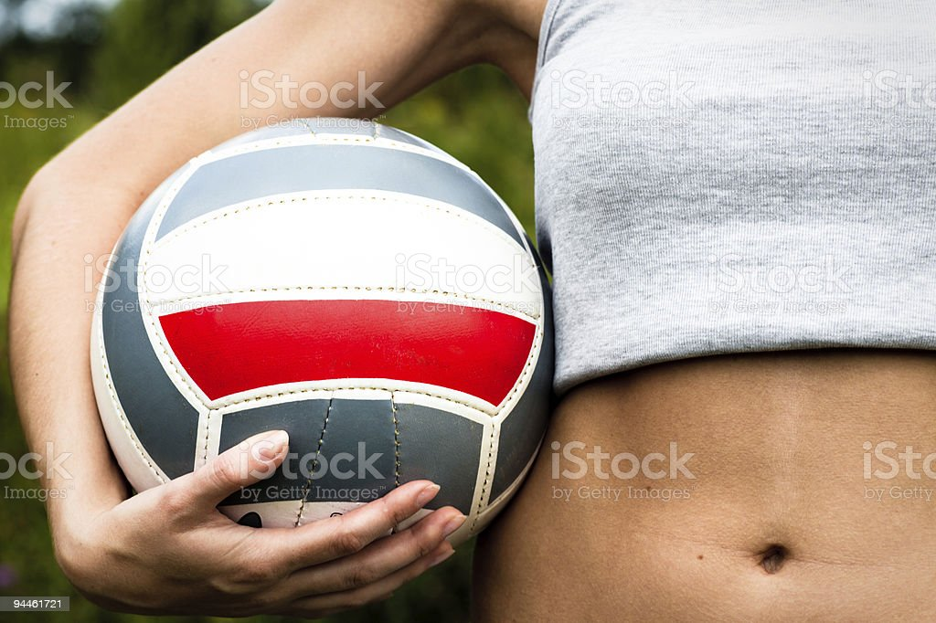 Girl hand with volleyball ball royalty-free stock photo
