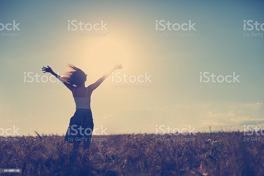 Girl have fun outdoors stock photo