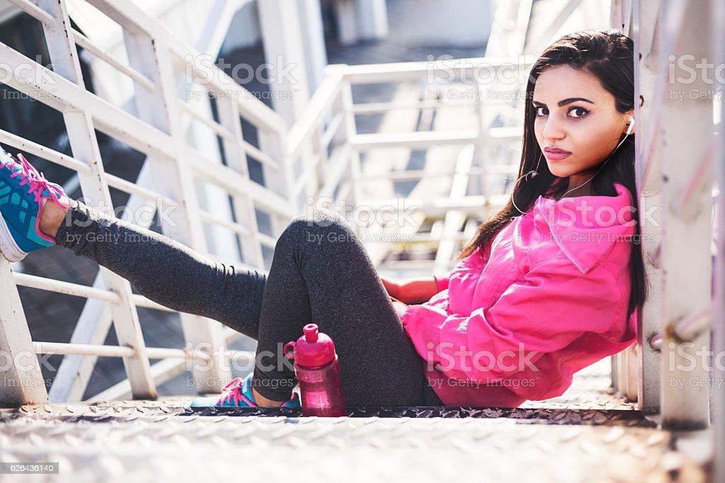 Girl having a break royalty-free stock photo