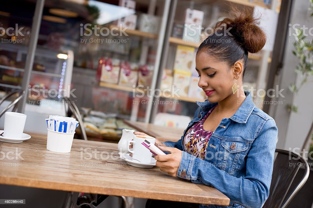 girl having a coffee royalty-free stock photo