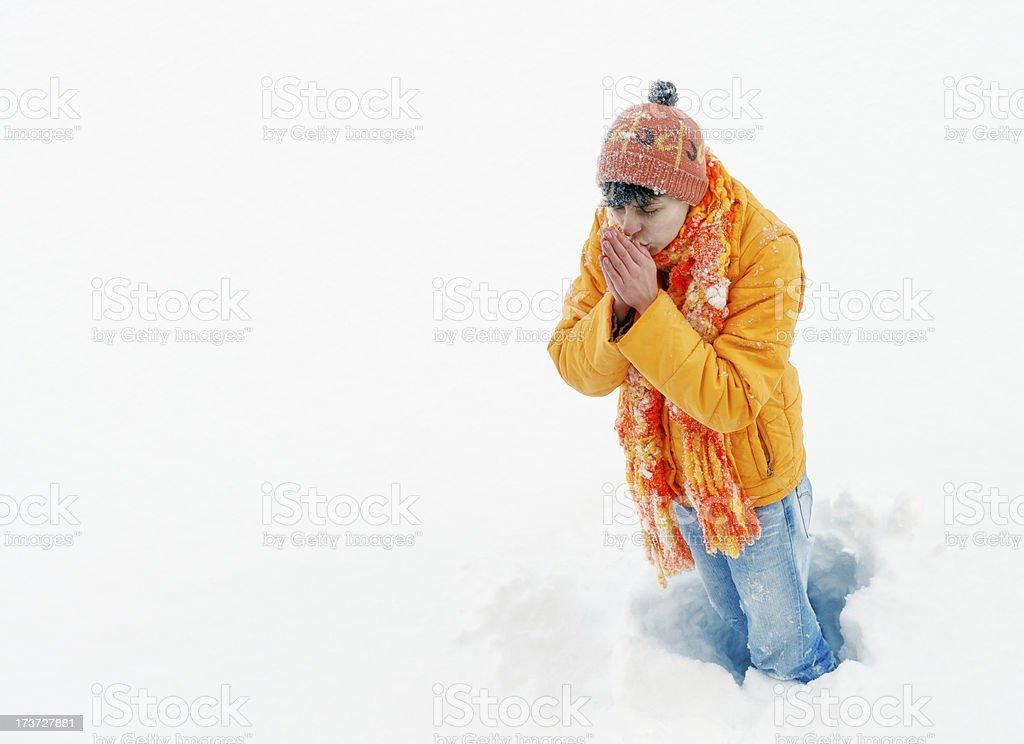 Girl having cold royalty-free stock photo