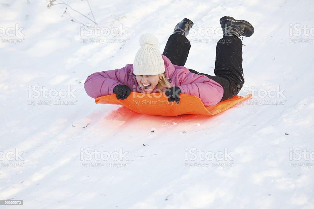 Girl having fun in snow royalty-free stock photo