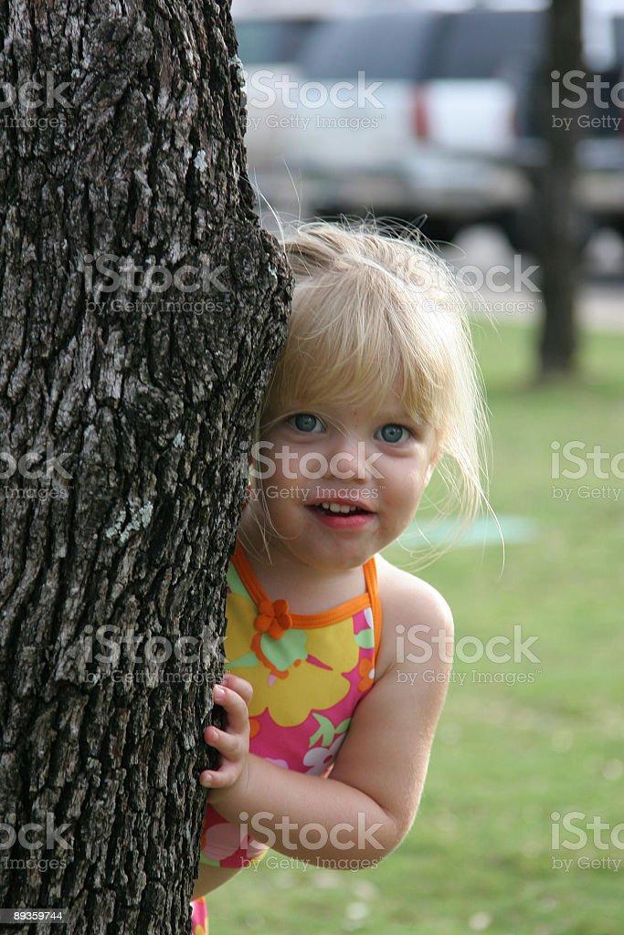 Girl Hiding Behind Tree royalty-free stock photo