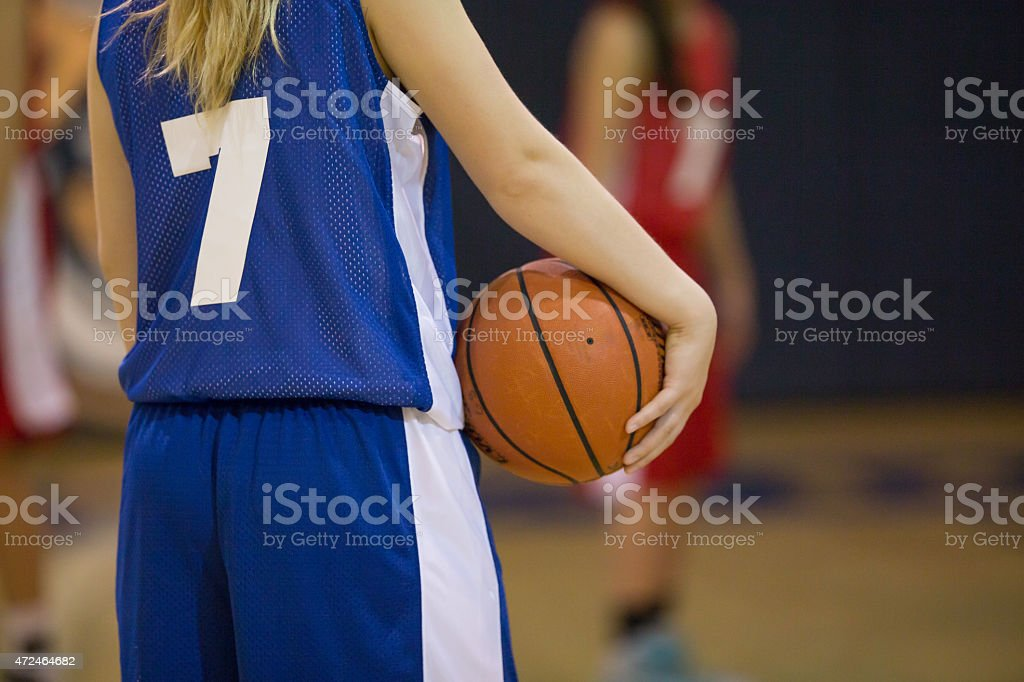 Female high school basketball players preparing for a competitive game