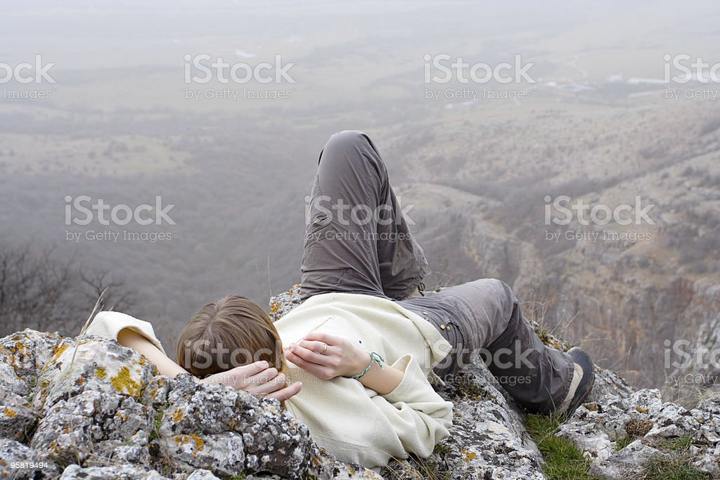 girl hiker relaxing royalty-free stock photo