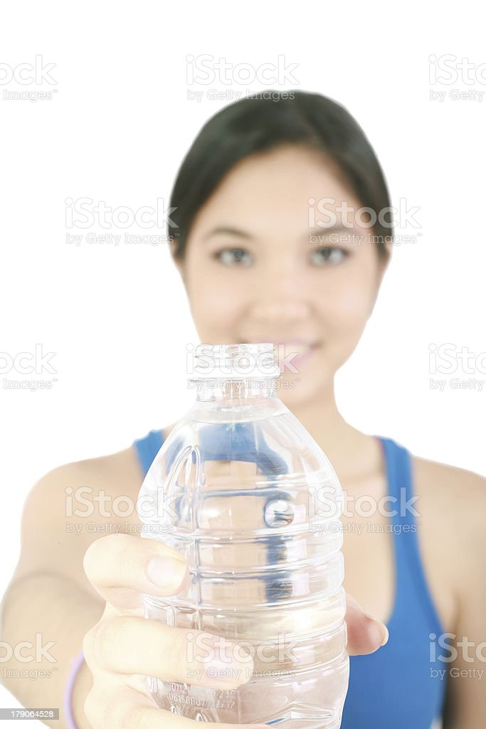 girl hold bottle of pure still drinking water nutrition facts royalty-free stock photo