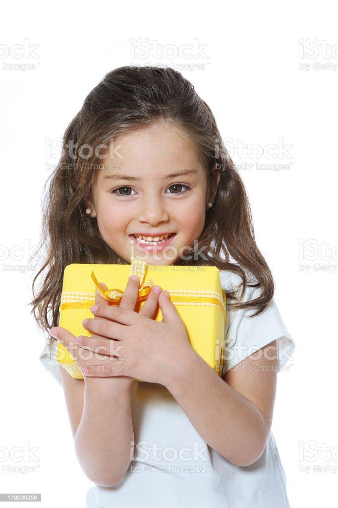 Girl hold gift stock photo