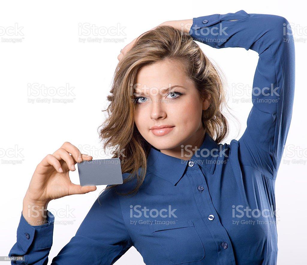 girl hold white blank name card stock photo