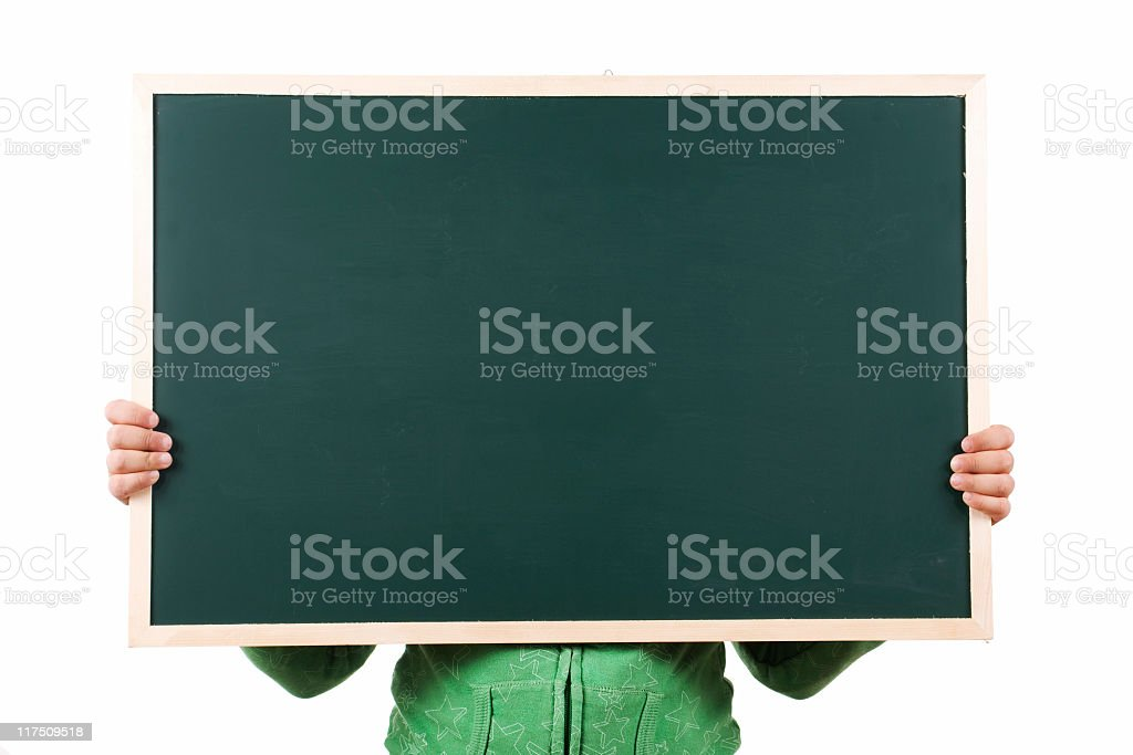 girl holding a blackboard royalty-free stock photo