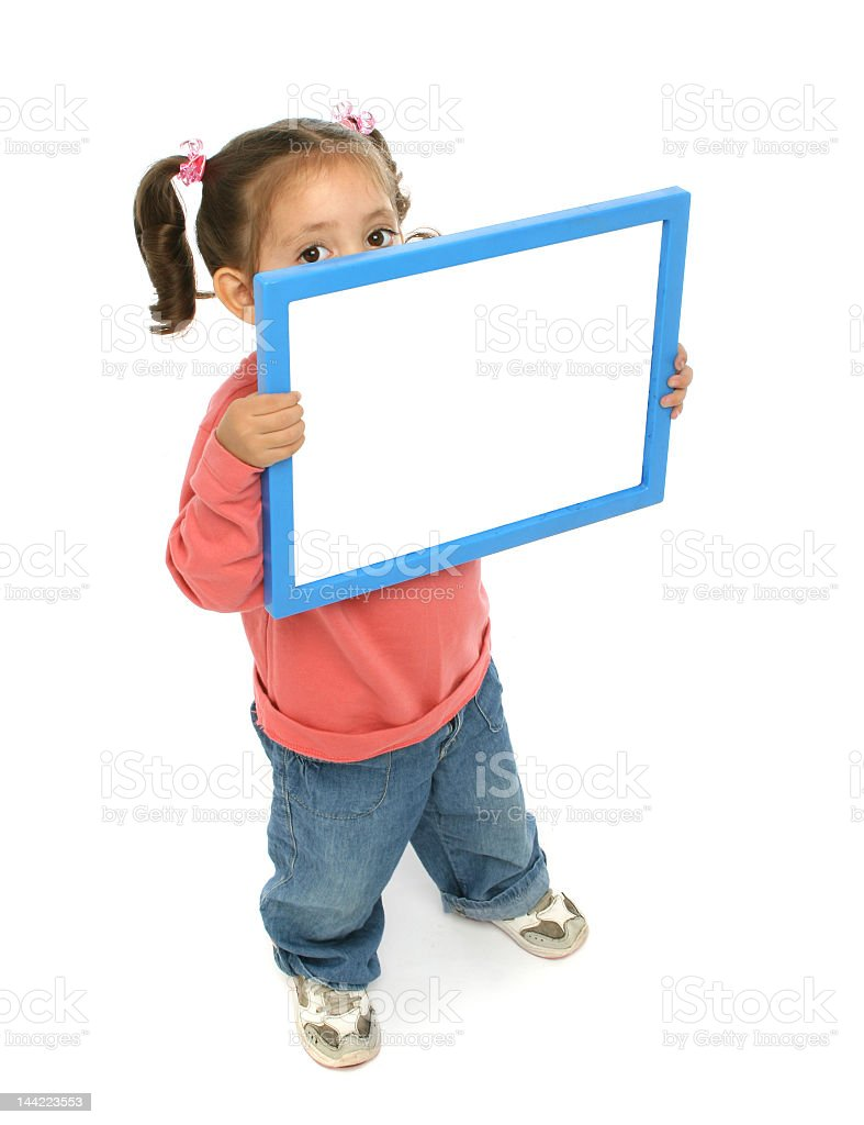 A girl holding a blank sign in a white background stock photo