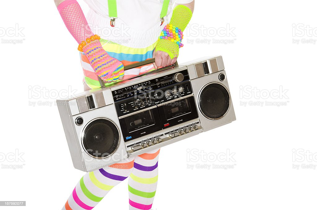 Girl holding a boom box royalty-free stock photo