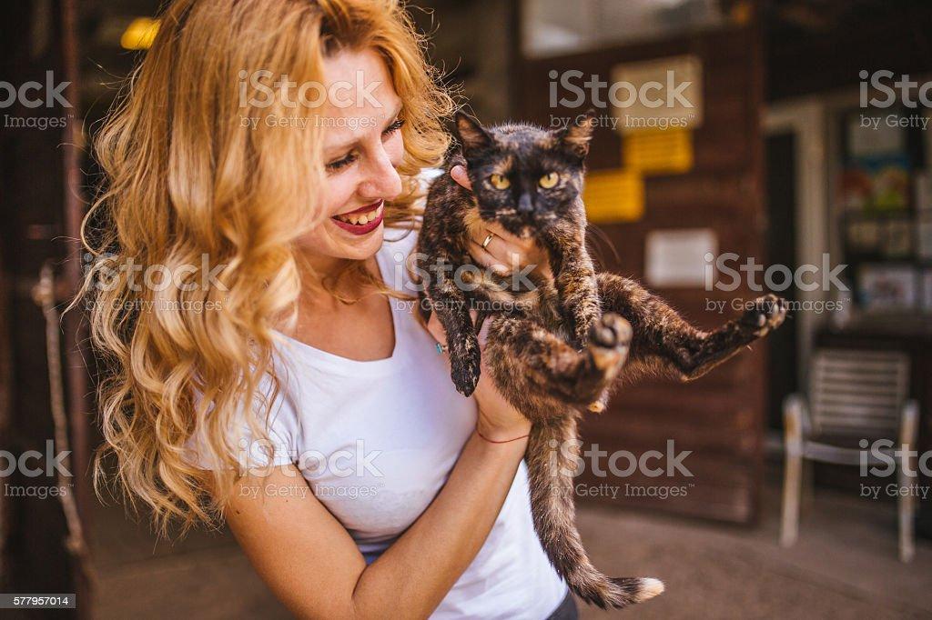Girl holding a cat stock photo