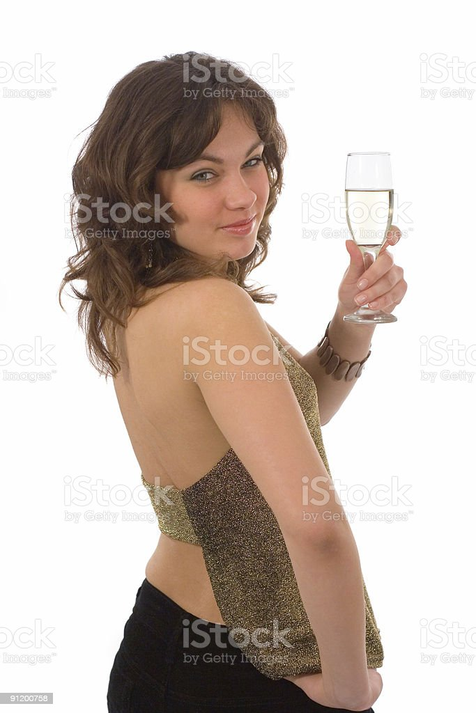 Girl, holding a drink royalty-free stock photo