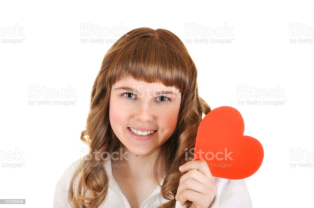 girl holding a paper heart in hand royalty-free stock photo