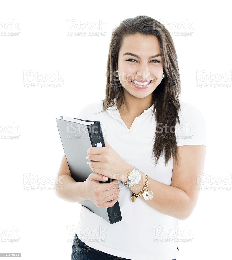 Girl holding a ring binder royalty-free stock photo