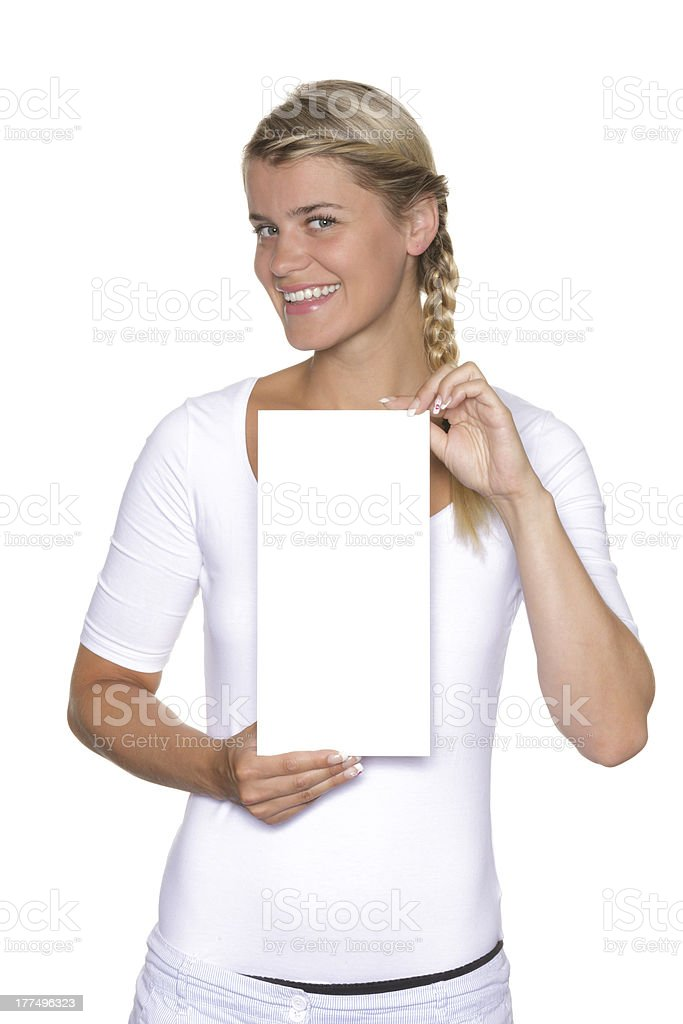 Girl holding a sign in front stock photo