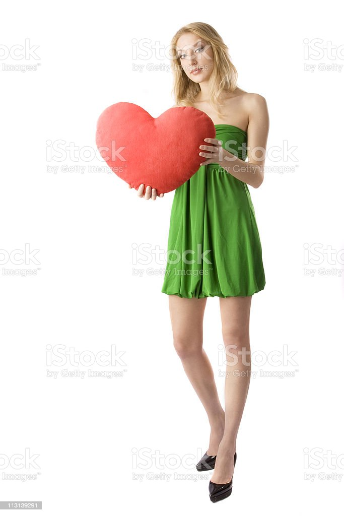 Girl holding big red heart. royalty-free stock photo