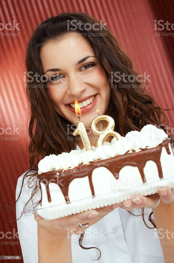 Girl holding Birthday Cake with Candles 18th royalty-free stock photo