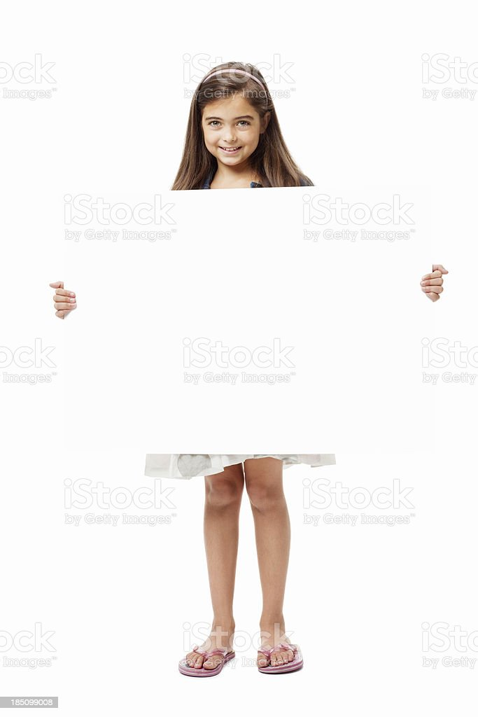 Girl Holding Blank Sign - Isolated royalty-free stock photo