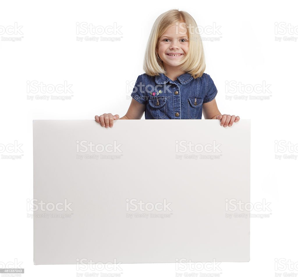 Girl Holding Blank Sign royalty-free stock photo