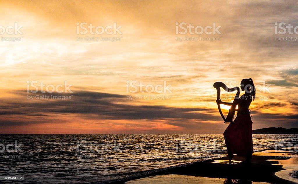 Girl holding celtic harp on sunset stock photo