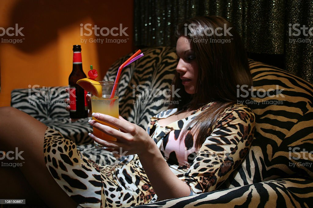Girl holding drinks stock photo