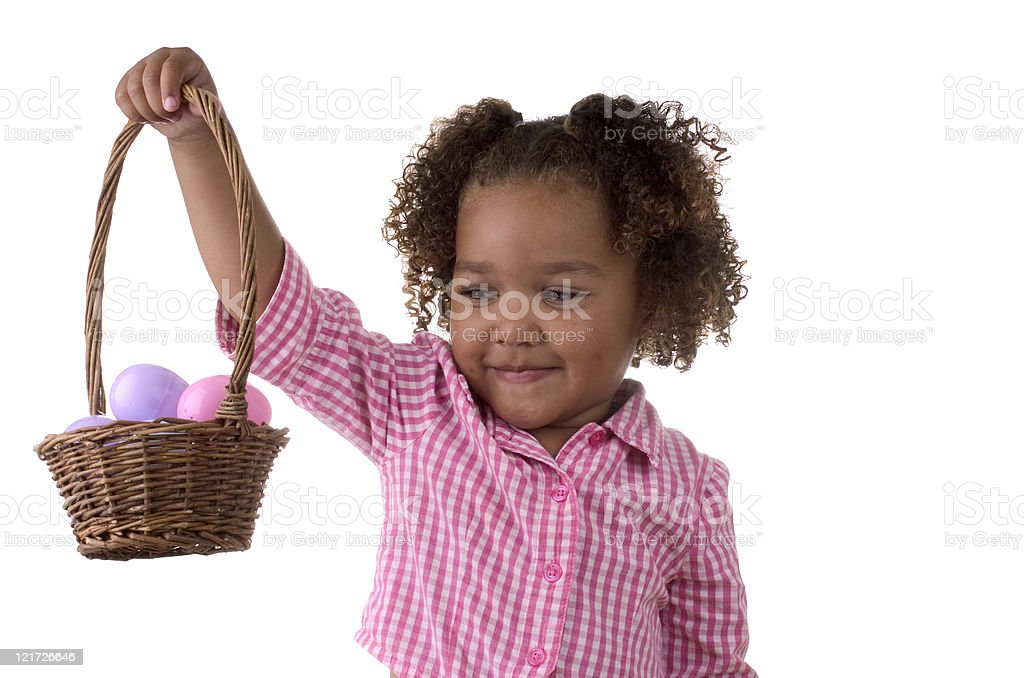 Girl holding Easter basket royalty-free stock photo